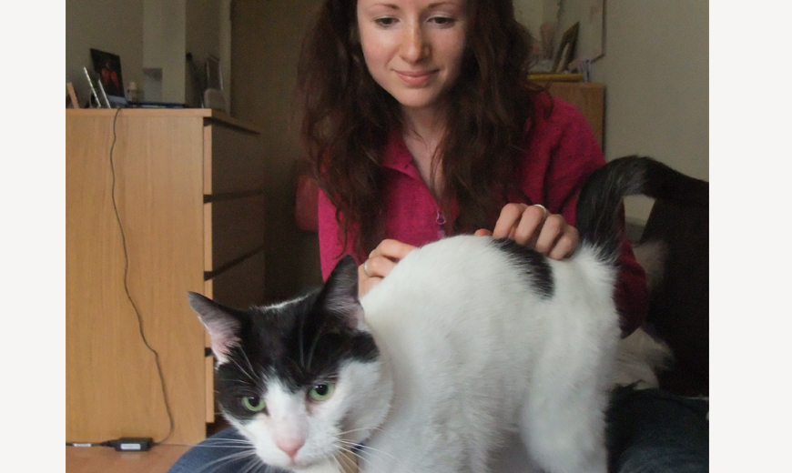 Emily with Mikey the cat